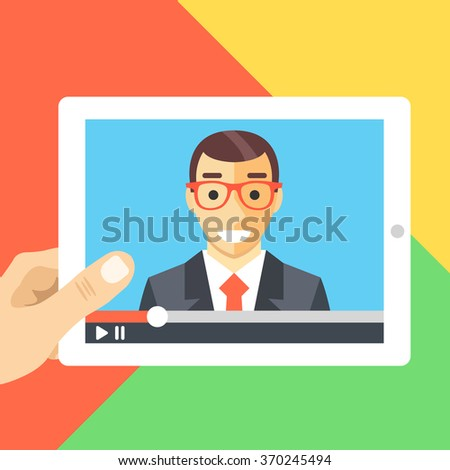 Online conference, online tutorials, webinar, web consultation, watching video flat illustration. Hand holds tablet. Modern flat design for web banners, website, printed materials. Vector illustration - stock vector
