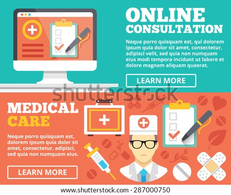 Online consultation and medical care flat illustration concepts set. Flat design concepts for web banners, web sites, printed materials, infographics. Creative vector illustration - stock vector