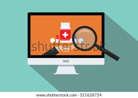 online doctor medical research search zoom pc computer pils capsule - stock vector