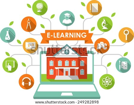 Online e-learning and science concept with computer, school building and education icons in flat style - stock vector