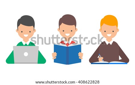 Online education, book reading, studying vector illustration - stock vector