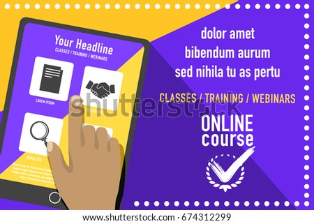 online education concept creative poster template stock vector, Powerpoint templates