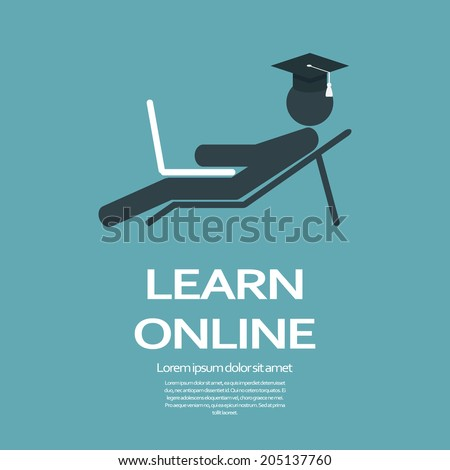 Online education concept. Eps10 vector illustration. - stock vector