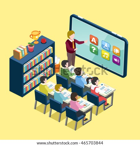 online education concept in 3d isometric flat design with abstract classroom and tablet