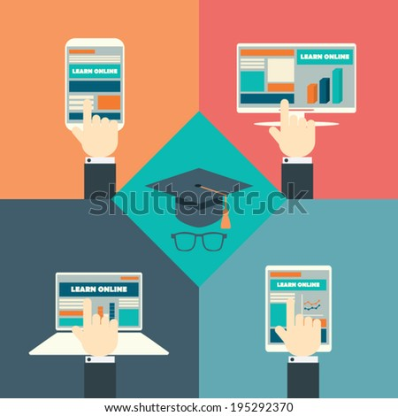 Online education concept infographics with modern technology. Flat design and responsive webdesign eps10 vector illustration. - stock vector