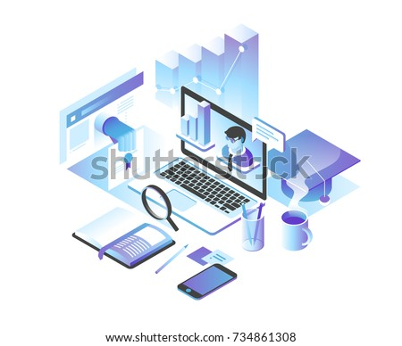 Online education concept. Online training courses, specialization, tutorials, lectures. 3d isometric design.