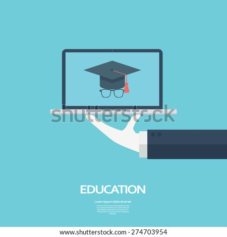 Online education concept. Student icon on laptop. eps10 vector illustration. - stock vector