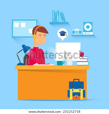 Online education concept - student working on the computer. Vector illustration, flat style - stock vector