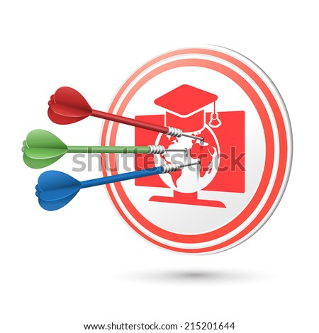 online education concept target with darts hitting on it over white - stock vector
