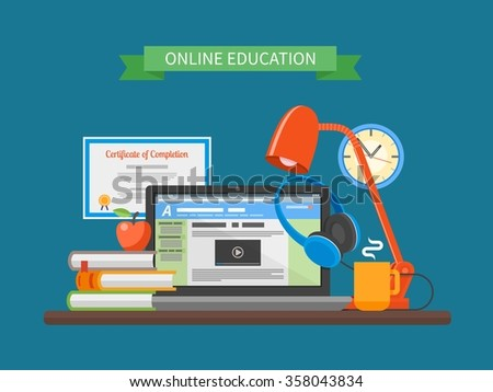 Online education concept. Vector illustration in flat style. Internet training courses design elements. Laptop on a table. - stock vector