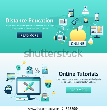 Online education design concept set with distance tutorials decorative icons isolated vector illustration - stock vector