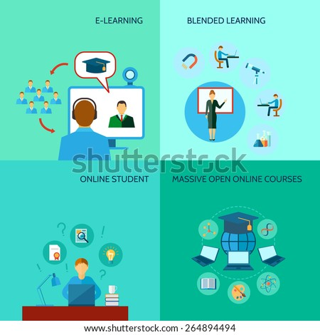 Online education design concept set with e-learning student courses flat icons isolated vector illustration - stock vector