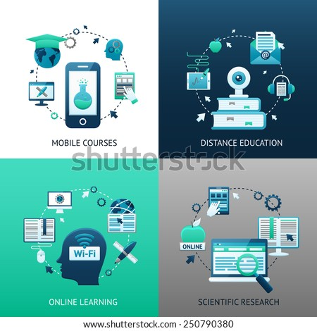 Online education design concept set with mobile courses distance learning scientific research icons isolated vector illustration - stock vector