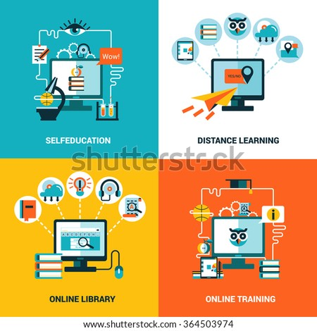 Online education design concept with flat icons composition of selfeducation distance learning online library and online training vector illustration  - stock vector