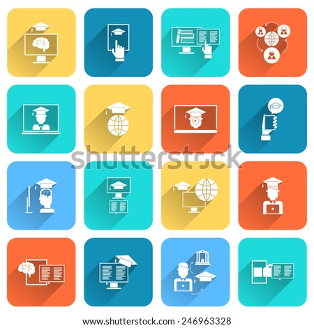 Online education digital research distance learning icons flat set isolated vector illustration - stock vector