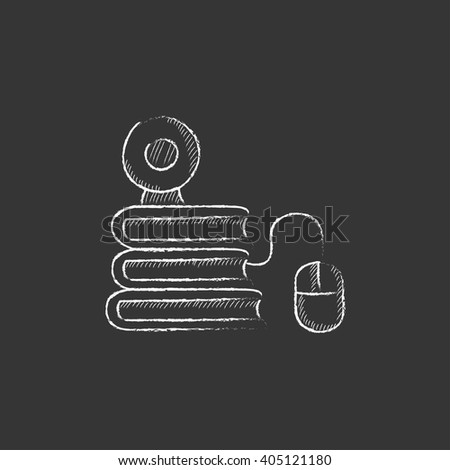 Online education. Drawn in chalk icon. - stock vector