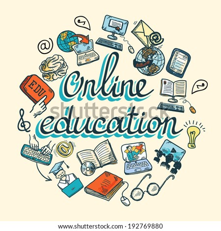 Online education e-learning science sketch concept with computer and studying icons vector illustration - stock vector