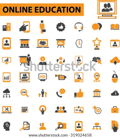 online education, e-learning, study icons - stock vector