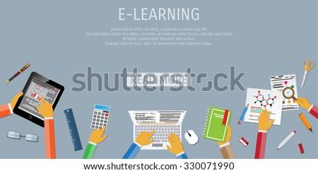 Online education, e learning web banner - stock vector