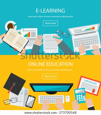 Online education, e learning web banners with people, laptop,  computer, tablet, phone, book, graduation hat, certificate etc.  - stock vector