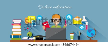 Online education flat design concept. Online learning, e-learning and online training, webinar and online class, internet web technology, book and computer, knowledge media illustration - stock vector
