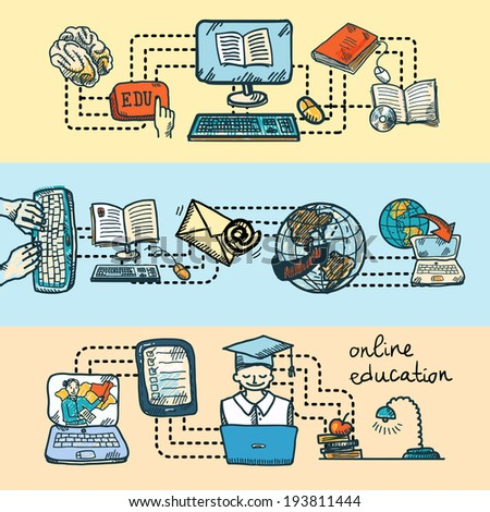 Online education graduation and e-learning sketch icon banner set isolated vector illustration - stock vector