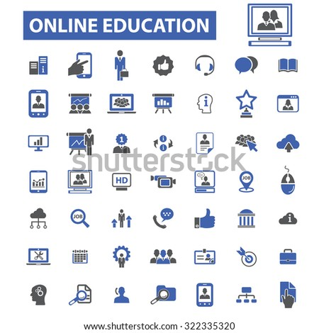 online education icons - stock vector
