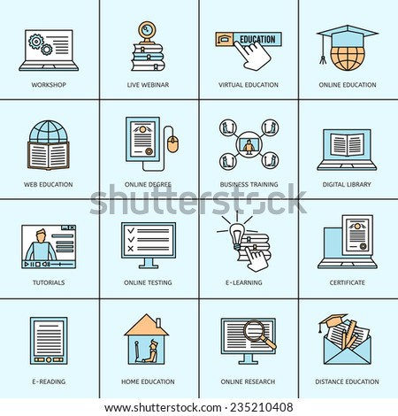 Online education icons set with workshop live webinar business training isolated vector illustration - stock vector