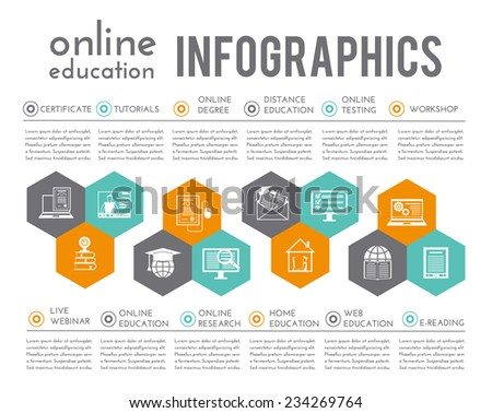 Online education infographics with certificate tutorials degree distance testing elements vector illustration - stock vector