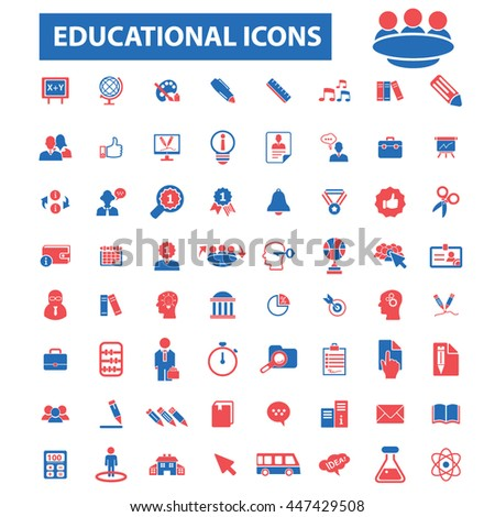 online education, learning, training, business study, teaching, idea, course, science, university, academic, book, exam, college, student, certificate, lesson, degree, school  icons, signs vector - stock vector
