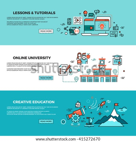 Online education, on-line training courses, staff training, web tutorials vector banners set. Online knowledge teaching, study online page, online course illustration - stock vector