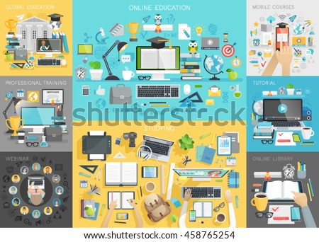 Online education set. Mobile courses, tutorial, global education, webinar, professional training, online library, workplace concepts. - stock vector