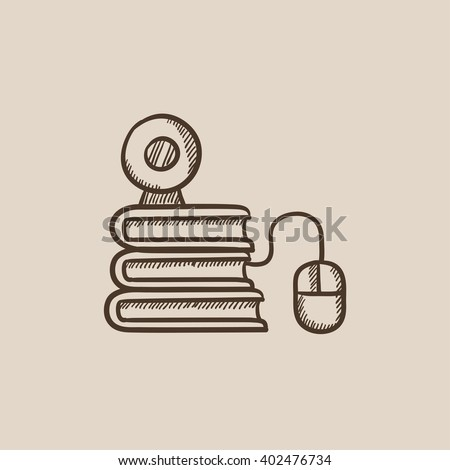 Online education sketch icon. - stock vector