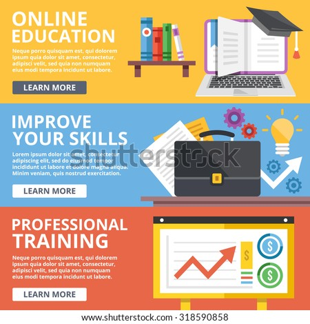 Online education, skills improvement, professional training flat illustration concepts set. Modern flat design concept for web banners, web sites, printed materials, infographics. Vector illustration - stock vector
