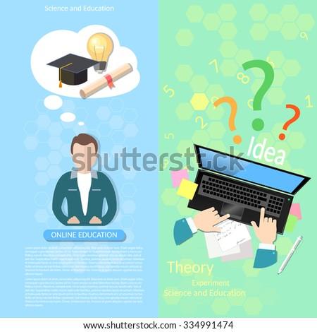 Online education teacher distance tutorials student lecturer lessons university college diploma laptop vector banners - stock vector