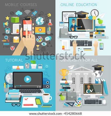 Online Education, tutorial, university for all and mobile courses  concepts. Vector illustration. - stock vector