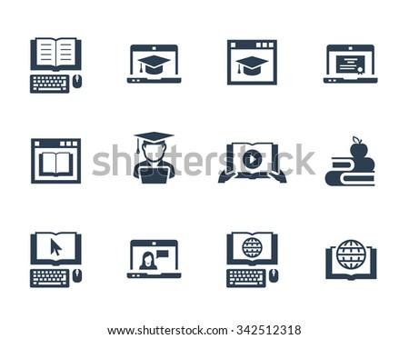 Online education vector icon set - stock vector