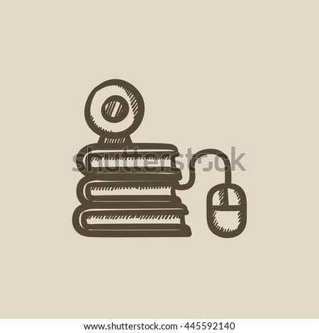 Online education vector sketch icon isolated on background. Hand drawn Online education icon. Online education sketch icon for infographic, website or app. - stock vector