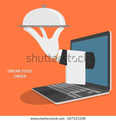 Online Food Delivery Isometric Flat Vector Concept. Hand Of Water With Dish And Towel Appeared From Laptop. - stock vector
