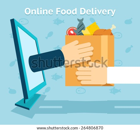 Online food delivery. Product and shopping, customer and receive. Vector illustration - stock vector
