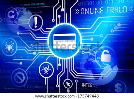 Online Fraud credit card vector. - stock vector