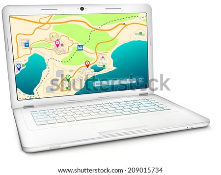 Online GPS city map on display of modern silver notebook computer. Vector illustration, isolated on white background - stock vector