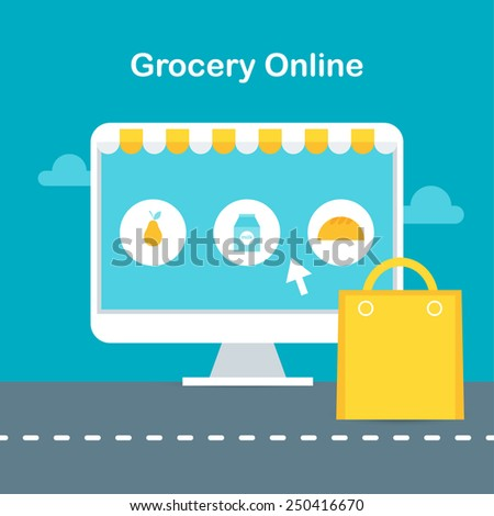 Online Grocery Store Illustration. Ecommerce and Online Shopping Concept - stock vector