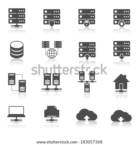 Online internet hosting technology pictograms set of network server infrastructure data center services isolated vector illustration - stock vector