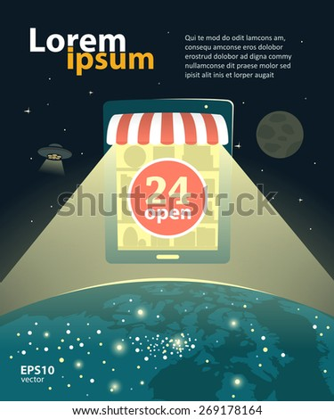 Online internet shop, e-shop design development creative illustration. Worldwide global concept. - stock vector