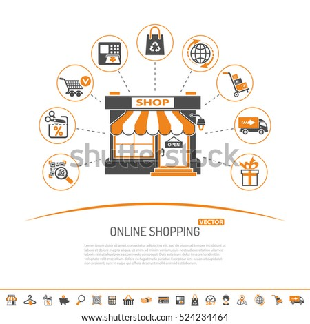 Online internet shopping concept with Two Color flat Icons Set for business marketing and advertising with shop, delivery, sale and goods. Isolated vector illustration
