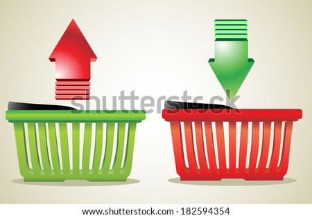 Online Internet Store Shopping Carts. Colorful shopping basket with signs. - stock vector