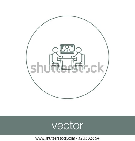 online interview - video conference - online meeting - two human figures sitting around the table talking, with a human figure in the screen at the background - concept flat style - stock vector