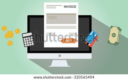 online invoices payment pc dekstop calculator money credit card coin - stock vector
