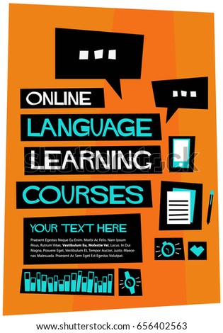 online language learning courses poster flat stock vector, Powerpoint templates